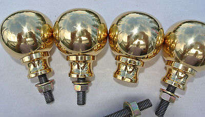 "BED KNOBS 4 solid Brass small 2.1/4"" high old style COT heavy vintage polished"