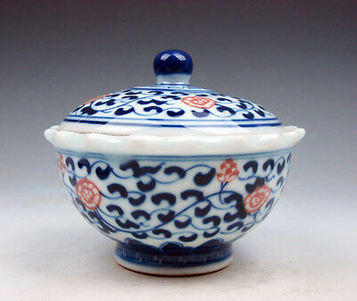 Blue&White Glazed Porcelain Ox-Blood Red Floral Painted Lidded Tea Cup #07041716