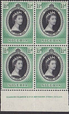 NIGERIA 1953 Coronation imprint block of 4 MNH.............................68854
