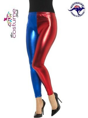 Ladies Harlequin Metallic Leggings Adult Harley Cosplay Fancy Dress Women Outfit