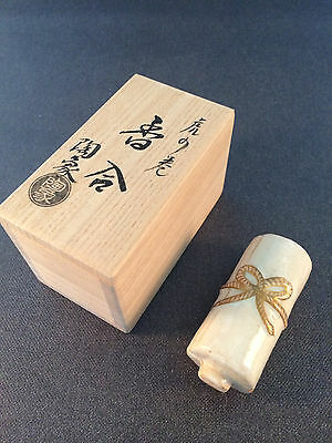 Japanese Tea Ceremony Kogo Incense Container in Scroll Shape