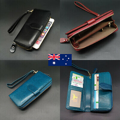 Genuine Leather Ladies Womens Trifold Wallet Large Capacity Purse Phone Holder