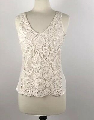 30294bcf521 RACHEL RACHEL ROY Sleeveless Black Lace Trim Ivory Tank Top Size M ...