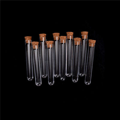 10 Pcs/lot Plastic Test Tube With Cork Vial Sample Container Bottle New