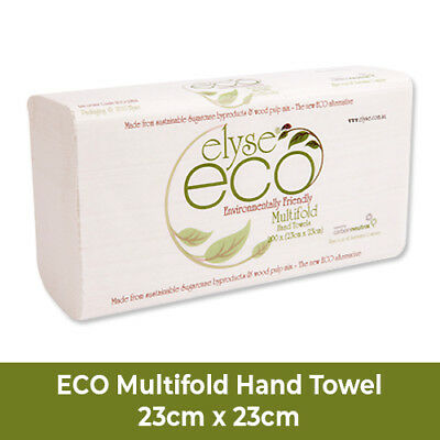 ECO MULTIFOLD Hand Paper Towels, 23cm x 23cm, 200 Sheets, 20 Packets