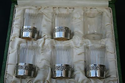 ANTIQUE FRENCH STERLING SILVER & GLASS LIQUOR GOBLETS SET OF SIX IN BOX XIXth C.