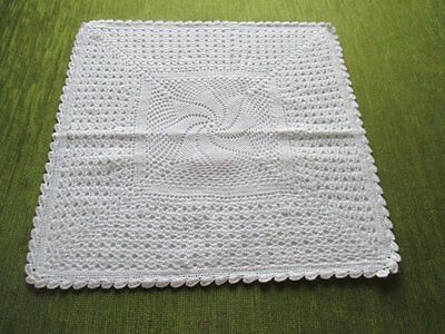 Cushion Cover - Hand Crochet - White - Unused