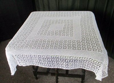 """Vintage Tablecloth All Hand Crochet - White - 44"""" Sq"""