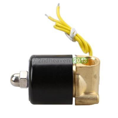 1/4 Brass Electric Solenoid Valve 110V AC Water Air Fuels Gas Normal Close BEST