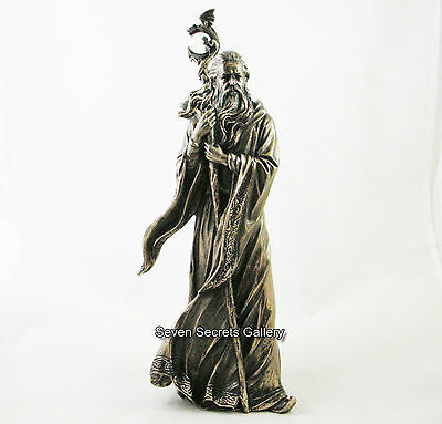 Merlin Wizard with Staff  Mystical Magical Figure Bronzed Statue Figurine NEW IN