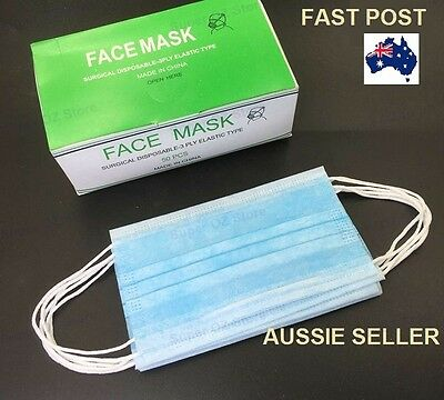 Surgical Face Mask Disposable Medical Mouth EAR LOOP Clinic DENTAL NAIL FLU SAFE