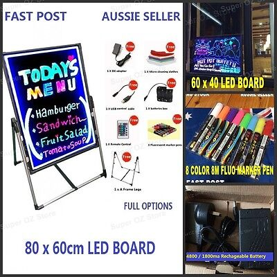 80x60 60x40 LED Neon Writing Menu Board Fluorescent Sign Signage Flash Pen Shop