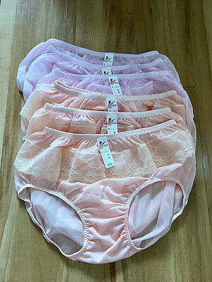 6 Pcs New Pinup Vintage Style Sheer Nylon Panties Gusset Knickers Xl Full Lacy