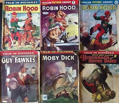 Six 1950's Thriller Comic Library No:42,49,152,162,202,303 Robin Hood, Moby Dick