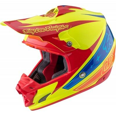 Motorradhelm Troy Lee Designs SE3 Light Corse Yellow MX Helm #2182 Cross Helm