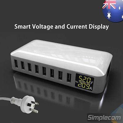 Compact 8 Port Smart AC USB Wall Charger LED iPad iPhone Phone Tablet 8A 40W AU