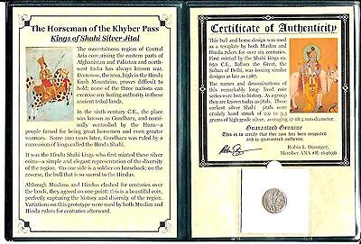 Kings of Shahi Silver Jital Coin,HORSEMAN OF THE KHYBER PASS,Album&Certificate