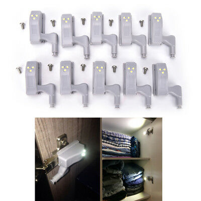 10pcs Kitchen Room Cabinet Hinge Indoor Wardrobe LED Light Sensor System  O9Z