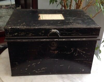 Large Vintage HOBBS & CO Metal Deed Box Storage Tin Chest 42X30X26CM + LABELS