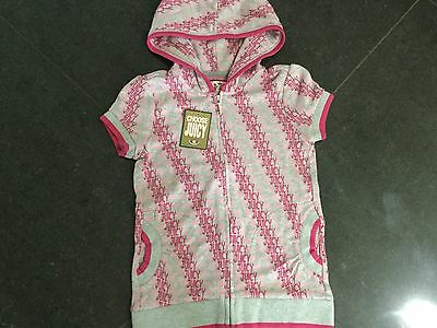 NWT Juicy Couture New & Gen. Girls Age 8 Grey/Pink Cotton Hoody With Juicy Logos