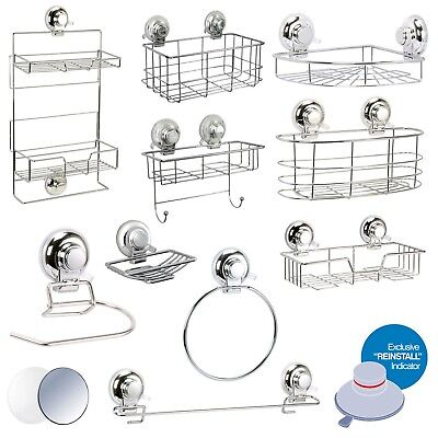 """Super Suction """"Vertex"""" Bathroom Wall Accessories   No Drilling Required"""
