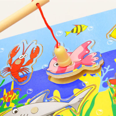 3D Magnetic Fishing Board Toy Wooden Mini Ocean Crab Puzzle Educational For Kids