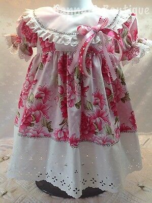 Hannahs Boutique 9-12 Month Baby Romany Spanish Floral Lined Frilly Dress