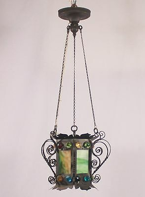 French Antique Green Slag Glass Lantern