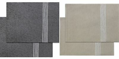 Oxford Stripe Luxury Table Placemats 100% Cotton Embroidered Place Mat Sets