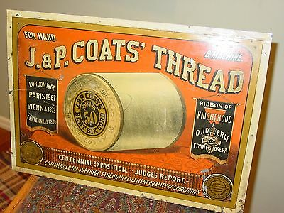 19th century tin J & P Coats spool thread cabinet advertising sign----15396