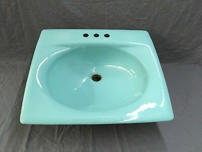Vtg Cast Iron American Standard Aqua Porcelain Bathroom Drop In SInk Old 516-17E