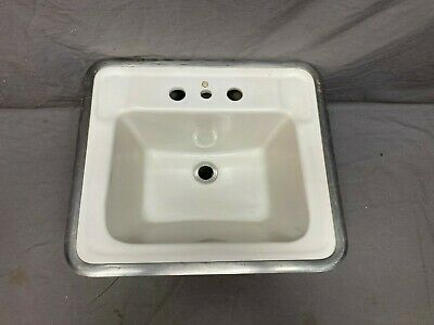 Small Vtg Rheem-Richmond Ceramic White Porcelain Drop In Sink Basin Old 518-17E