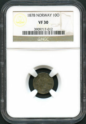 1878 Norway Silver 10 ORE NGC VF-30 -134029