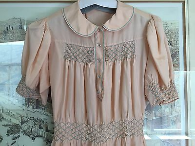 vintage 1930's (night)dress pale Pink Silk  Embroidered Full length Impeccable