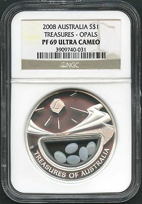 2008 Treasures of Australia Silver $1 With Opals NGC PF-69 Ultra Cameo -135995