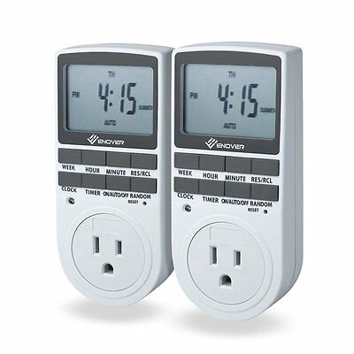 Enover 15A/1800W 7-day Programmable Plug-in Digital Timer Switch with 3-Prong