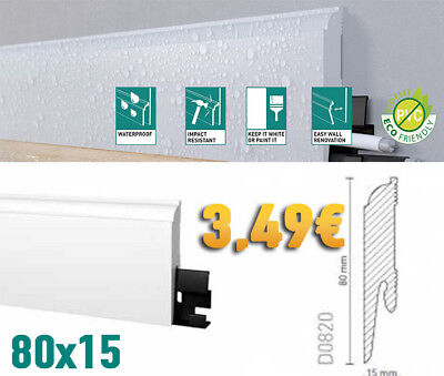 Battiscopa Bianco In Duropolimero Waterproof Inscalfibile Classico Firenze 80X15