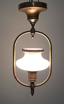 """16"""" Long Antique Vintage Brass Fixture Great Patina With Beautiful Globe"""
