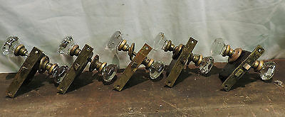 Lot Of 10 (5 Sets) Antique Deco Brass Crystal Glass Door Knobs + Locks + Collars