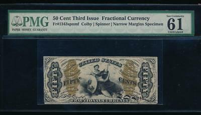 AC Fr 1343 $0.50 fractional Third issue PMG 61 comment narrow specimen JUSTICE