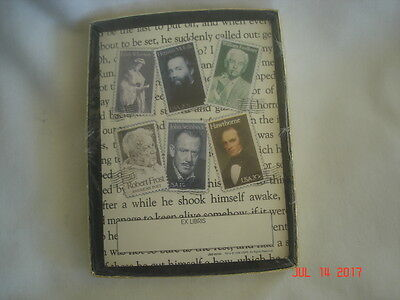 SEALED BOX Vtg. ANTIOCH American Writers & Poet Postage Stamp BOOKPLATES U.S.A.