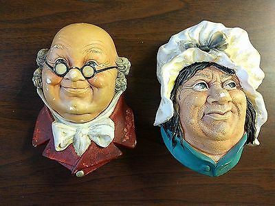 Vintage BOSSOMS Chalkware Dickens Characters Mr. PickWick & Sarah Gamp 1964/74