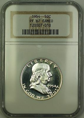 1954 Gem Proof Franklin Silver Half Dollar 50c Coin NGC PF-67 Cameo