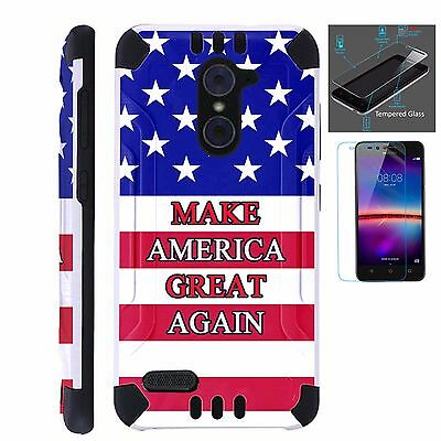 ZTE SLIM CASE + TEMPERED GLASS/Phone Armor Cover MAKE AMERICA GREAT FLAG  COMBAT