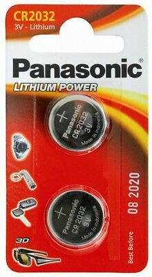 3x Panasonic Pack of 2 Lithium Power 3v CR2032 Coin Cell Batteries - New