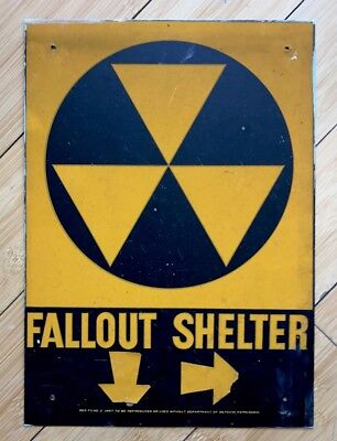 Official Government Issue 1960's Vintage Fallout Shelter Sign OUT OF ESTATE!!!