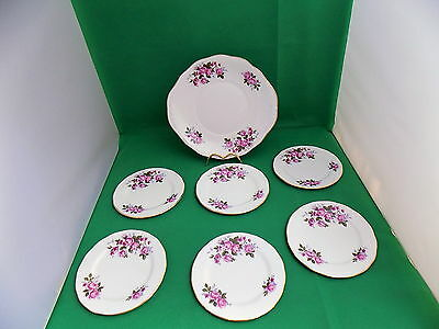 Queen Anne Pink Roses Cake Plate and 6 x Side Plates