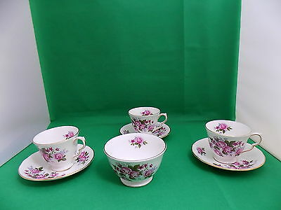 Queen Anne Pink Roses 3 x Cup & Saucers, Sugar Bowl