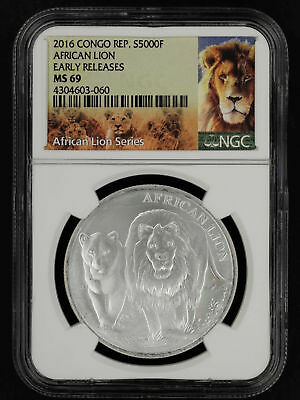 2016 Republic of the Congo Silver 5000 Francs African Lion NGC MS-69 -153543