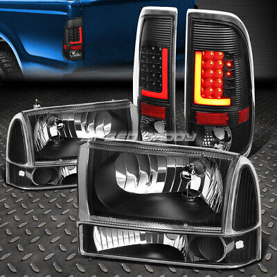 3D Red Led Black Clear Tail Light+Black Clear Headlight For 99-04 Super Duty